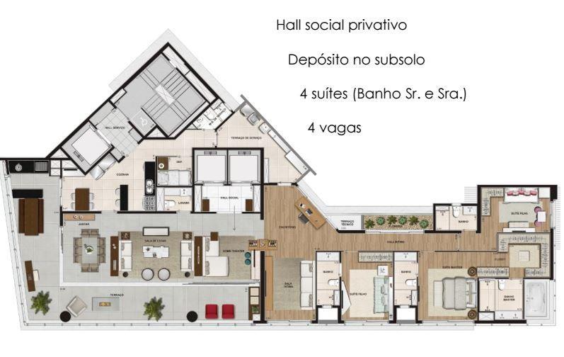 Planta Tipo 286 m²