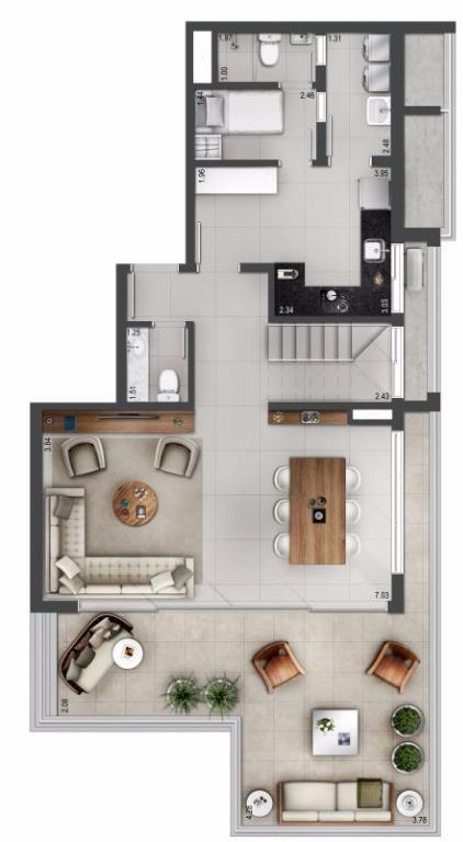 Planta Duplex Inferior - 176 m²