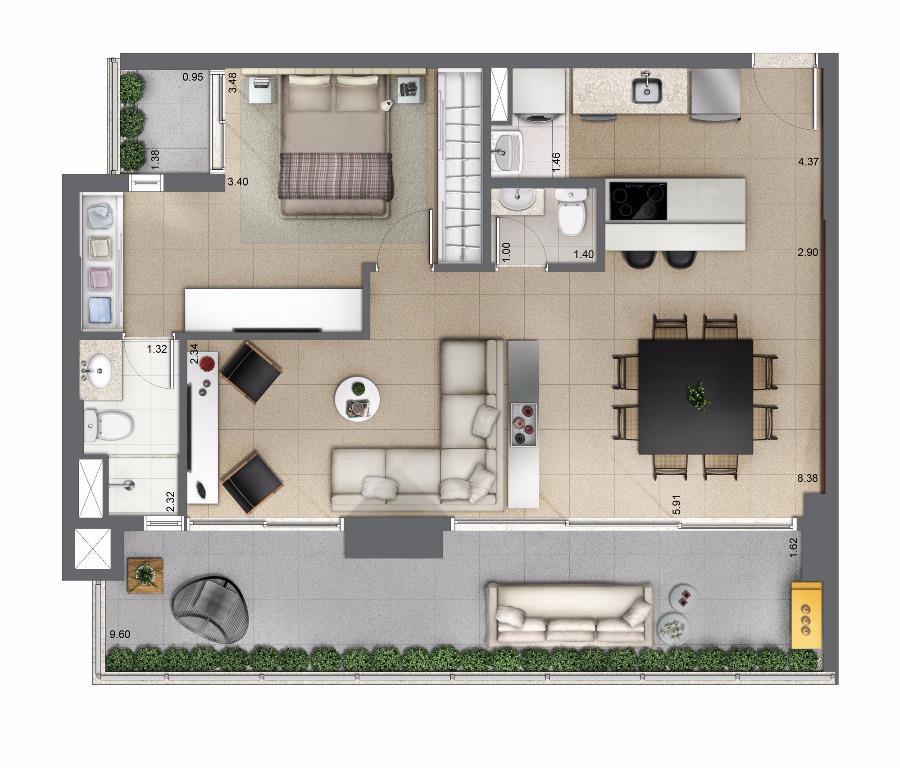 Planta Opção 81 m²
