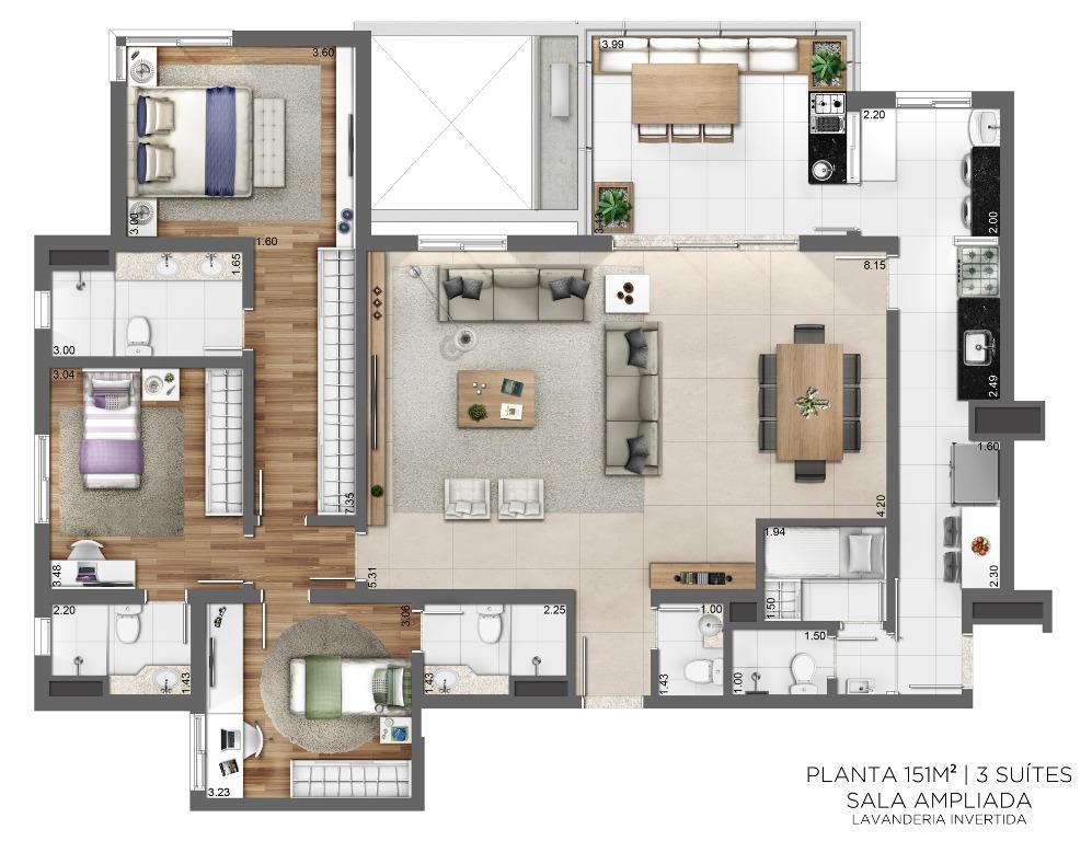 Planta 151 m² - 3 suítes - Sala Ampliada - Lavanderia Invertida