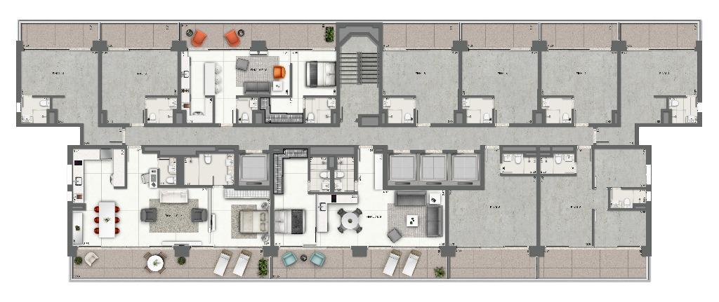 Planta - Junções 1 Dormitório - Pavimento Tipo