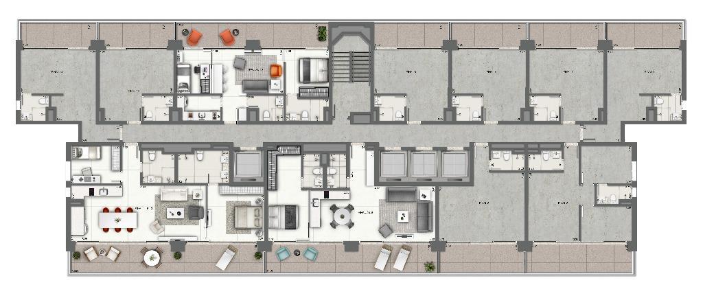 Planta - Junções 2 Dormitórios - Pavimento Tipo