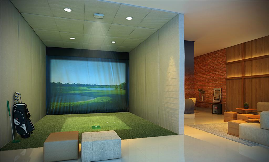 Perspectiva do Lounge Adulto com Simulador de Golf
