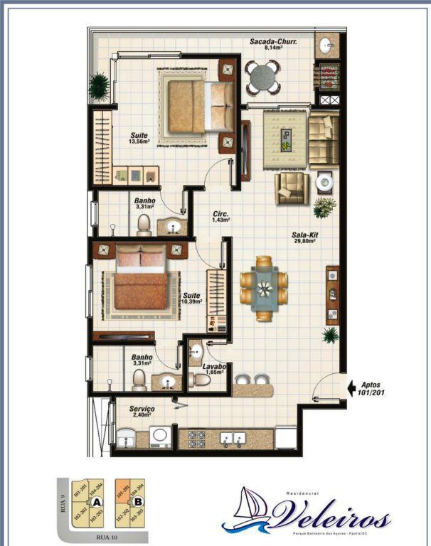 Apartamento residencial à venda, Balneário dos Açores, Flori...