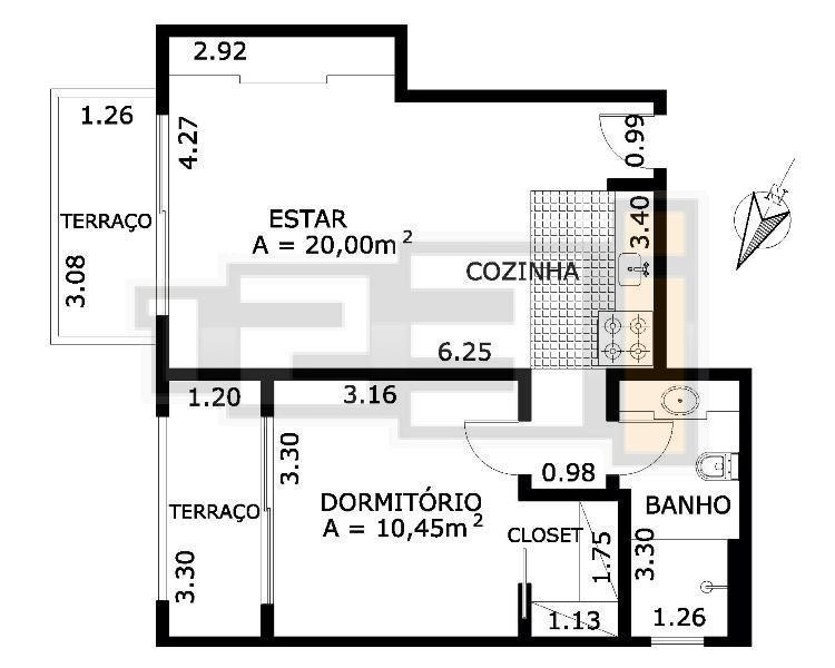 Flat 1 Dorm, Pinheiros, São Paulo (FL0443) - Foto 9