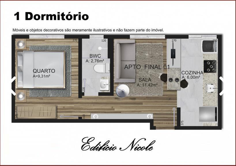 Apartamento de 1 dormitório em Cristo Rei, Curitiba - PR