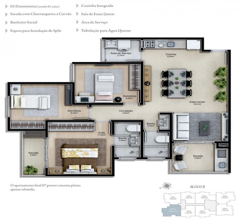 Residencial Campos Elíseos, apartamentos Agronômica - Florianópolis, à  venda a partir de R$ 470 102,47