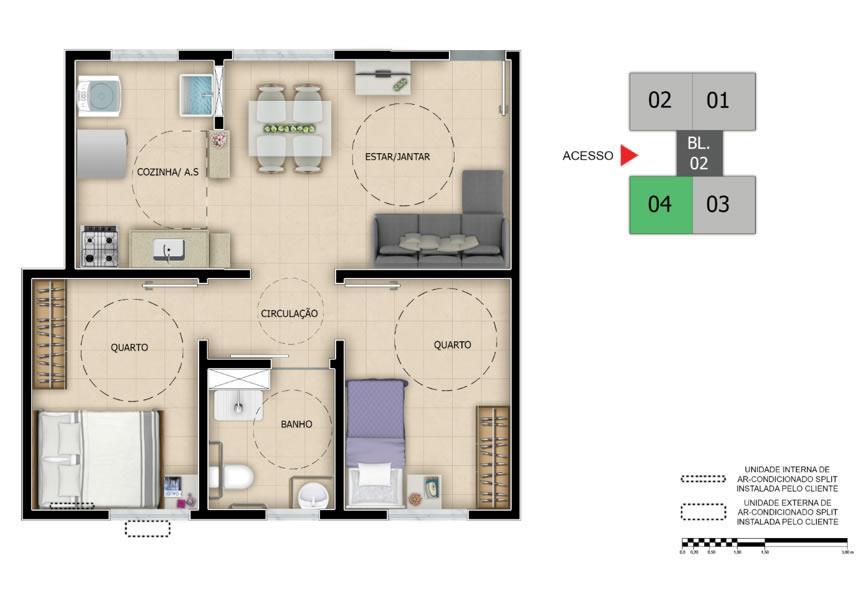 Apartamento de 2 dormitórios em São José, Canoas - RS