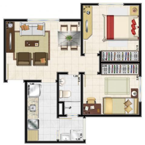 Apartamento de 2 dormitórios em Mato Grande, Canoas - RS