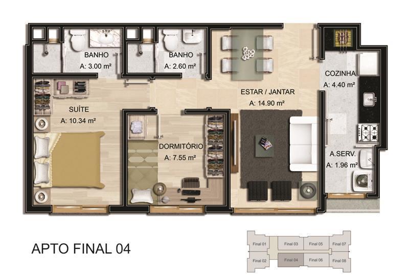 Apartamento de 2 dormitórios em Azenha, Porto Alegre - RS