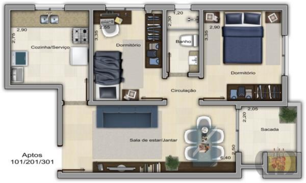 Apartamento de 2 dormitórios à venda em Nossa Senhora Do Perpétuo Socorro, Santa Maria - RS