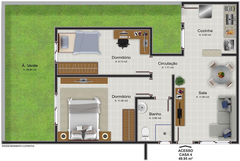 Casa de 2 dormitórios em Boi Morto, Santa Maria - RS