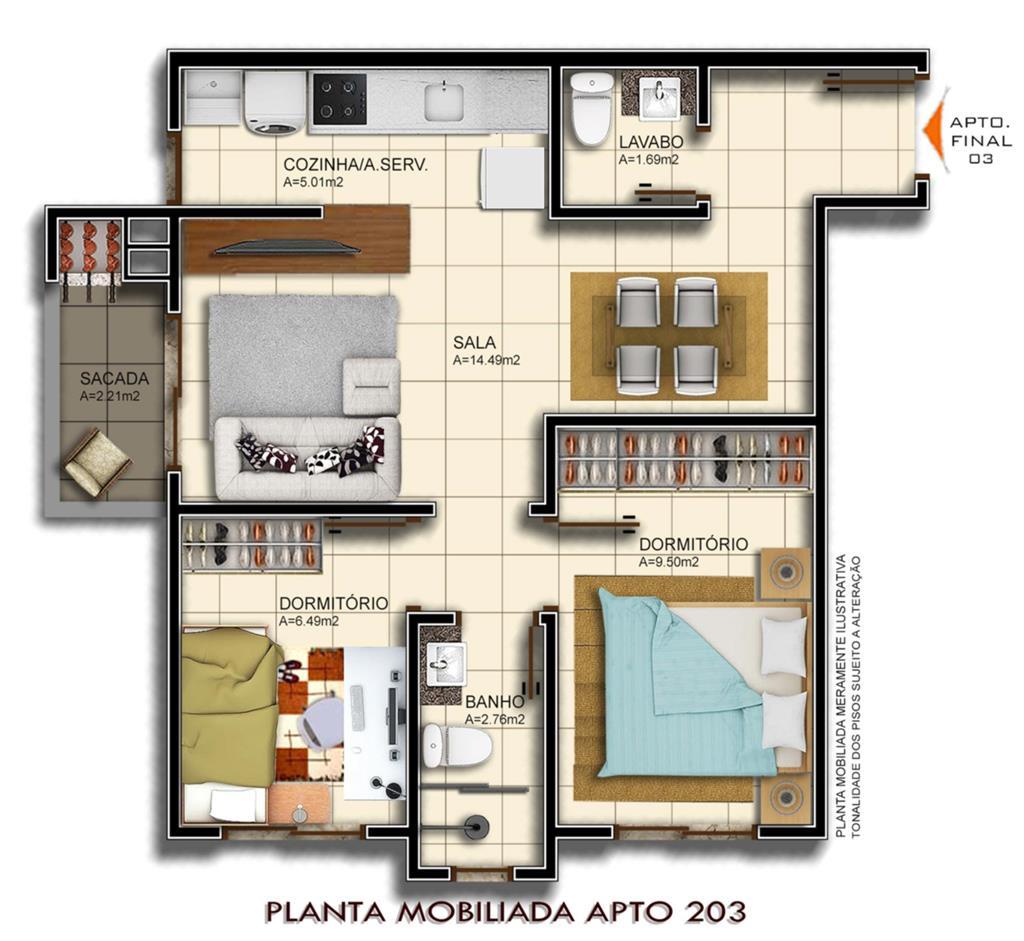 Apartamento Duplex de 2 dormitórios à venda em Camobi, Santa Maria - RS