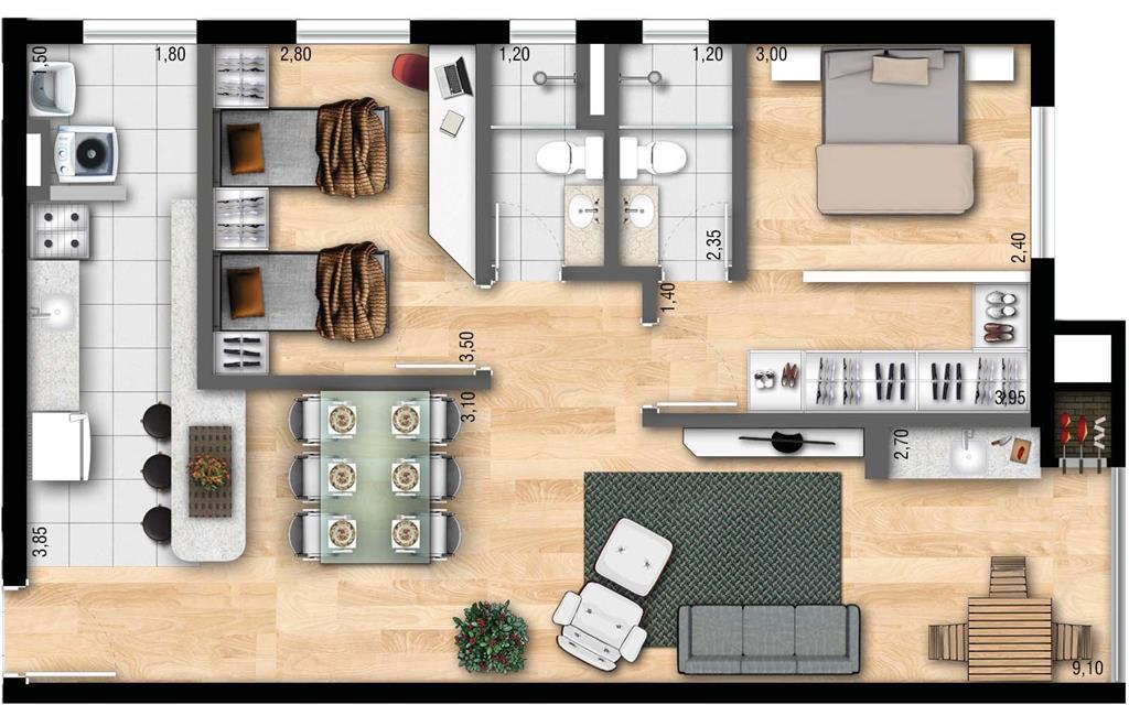 Apartamento de 2 dormitórios em Teresópolis, Porto Alegre - RS