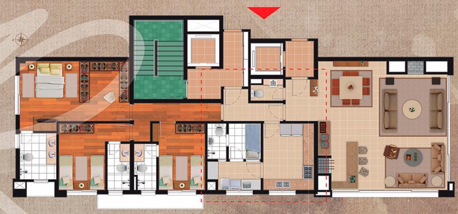 Apartamento de 3 dormitórios em Bela Vista, Porto Alegre - RS