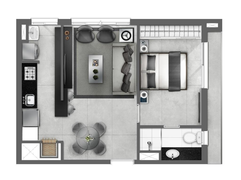 Apartamento de 1 dormitório em Centro, Canoas - RS