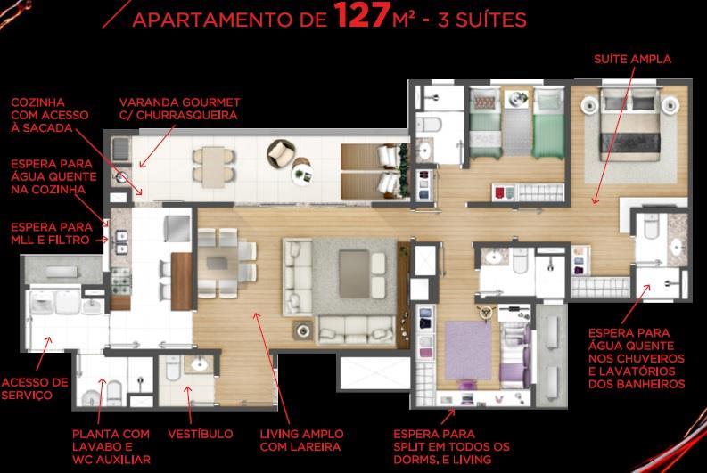 Apartamento de 3 dormitórios em Jardim Do Salso, Porto Alegre - RS