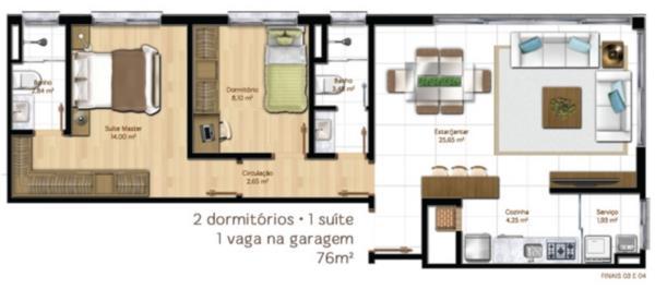 Apartamento de 2 dormitórios em Menino Deus, Porto Alegre - RS