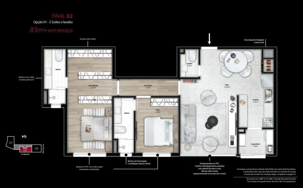 Apartamento de 2 dormitórios em São João, Porto Alegre - RS
