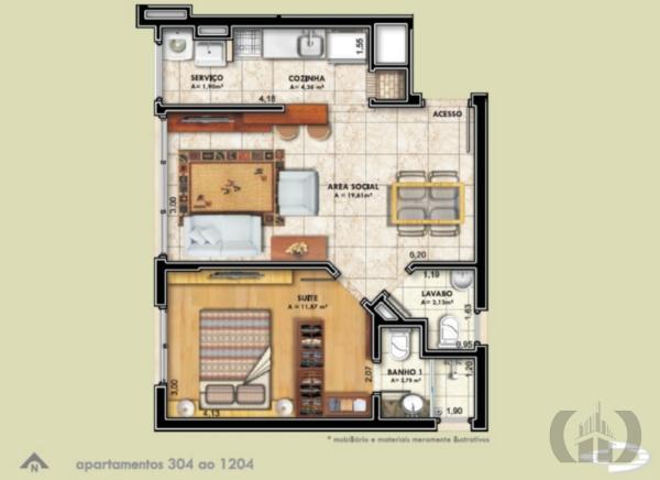 Apartamento de 1 dormitório à venda em Porto Alegre - RS