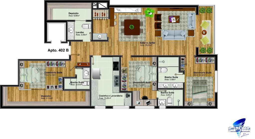 Apartamento de 2 dormitórios em Lago Negro, Gramado - RS