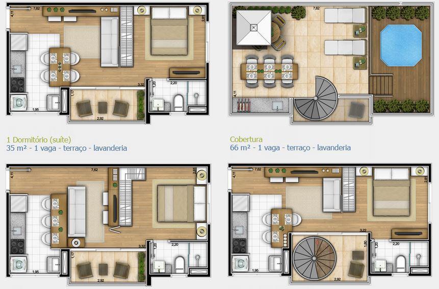 Cobertura de 1 dormitório em Campo Belo, São Paulo - SP