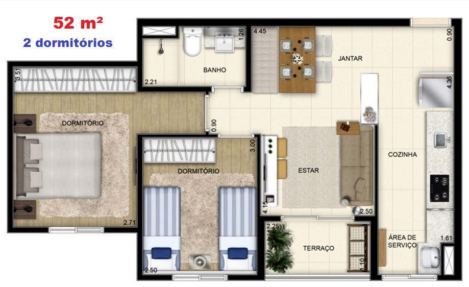 Apartamento de 2 dormitórios em Jardim Olavo Bilac, São Bernardo Do Campo - SP