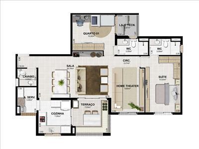 Apartamento de 3 dormitórios em Grageru, Aracaju - SE