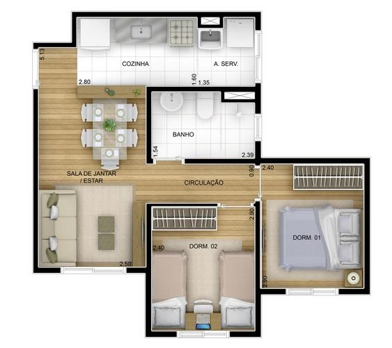 2 Dorms, 1 Vaga, Próximo ao Shopping Parque Maia - Excelente