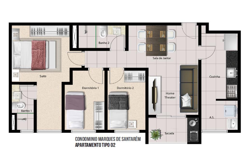 Apartamento de 3 dormitórios em Cidade Jardim Cumbica, Guarulhos - SP