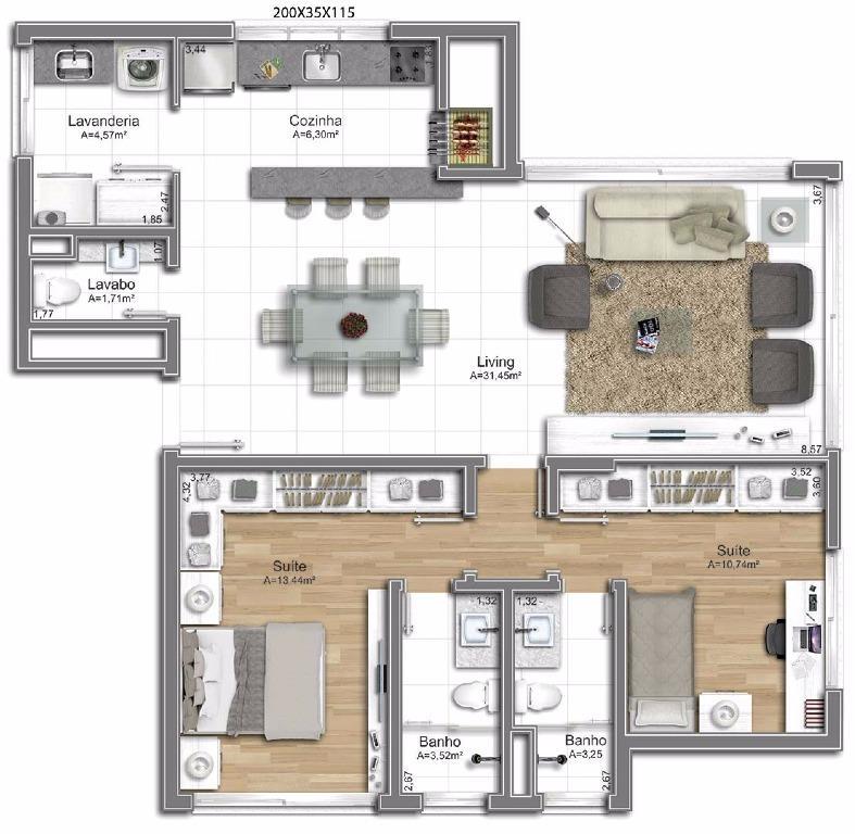 Apartamento com 2 dormitórios, sendo 2 suítes, living 2 ambientes, cozinha, lavanderia, lavabo, churrasqueira e 2 vagas de garagem. Infraestrutura completa com Piscina, Espaço Gourmet, Solarium, Banheiros de Serviços, Piscina com deck, Sistema de Segurança Condominial, Gerador de energia, Gradil com pulmão de acesso, Guarita com lavabo, 2 elevadores com acesso individual para cada apartamento por pavimento. O estilo de vida do Bela Vista é único: a perfeita sintonia entre o aconchego de um bairro e a comodidade da cidade grande. É uma profusão de sabores texturas e cores, expressos em cada detalhe: quer seja em um dos restaurantes, padarias, academias ou mesmo no passeio de fim de tarde na praça da Encol, é fácil encontrar uma maneira de interagir com o ambiente e sentir todo o clima próprio da região!