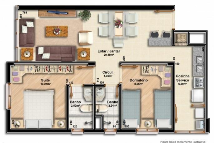 Apartamentos com 2 dormitórios, sendo 01 suíte, área privativa 58 m, living 02 ambientes, área de serviço, água quente, banheiro social, gás central, churrasqueira, salão festas, elevador, espera para split, medidor de água individual, garagem para 01 ou 02 carros, 04 apartamentos por andar.