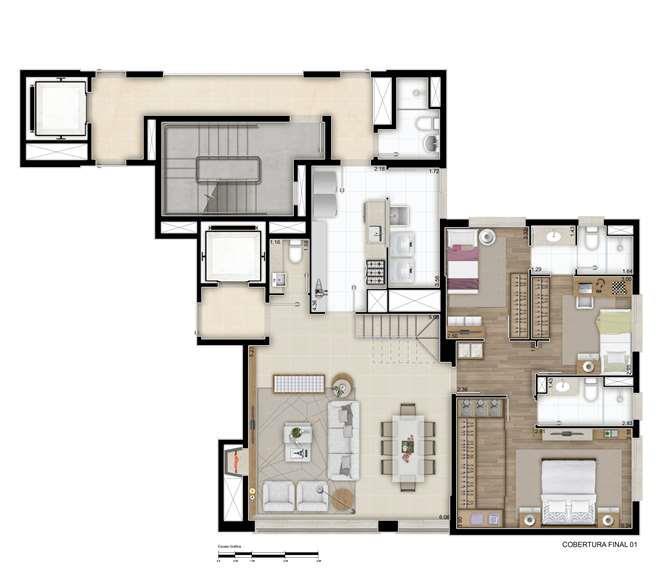 Cobertura com 3 dormitórios, sendo 3 suítes, living amplo, cozinha, copa, lavabo, lareira. Na parte superior sala de estar, espaço gourmet com churrasqueira, terraço e piscina. 2 vagas de garagem.  Infraestrutura com salão de festas, fitness, espaço kids, espaço confraria, piscina com solarium, playground. Um empreendimento que nasceu para ser clássico e contemporâneo ao mesmo tempo. Tem estilo e design exclusivos, com inspiração direta no neoclássico, uma corrente artística e arquitetônica atemporal. O resultado são apartamentos amplos, onde cada ambiente é cuidadosamente projetado e preparado para expressar a sua personalidade, o seu jeito de sentir e de viver. Contate hoje mesmo um de nossos consultores.