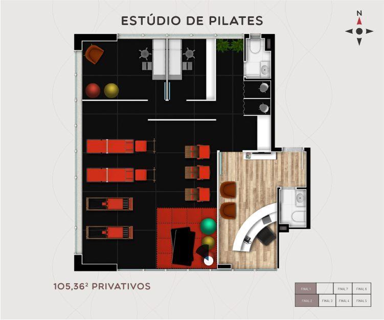 Sala comercial com 53,37m no Érico Office.  Salas comerciais integráveis de 34m a 313m privativos (andar inteiro) , área total construída 5.644,60m 2 Salas de reuniões integráveis, cafeteria, terraço com lounge, loja no térreo com 500m privativos, acesso pela Érico Veríssimo e rua Botafogo, 7 pavimentos tipo com 7 salas por andar, 2 pavimentos com 4 salas maiores por andar, 57 salas no total, 2 elevadores e 69 vagas de garagem.