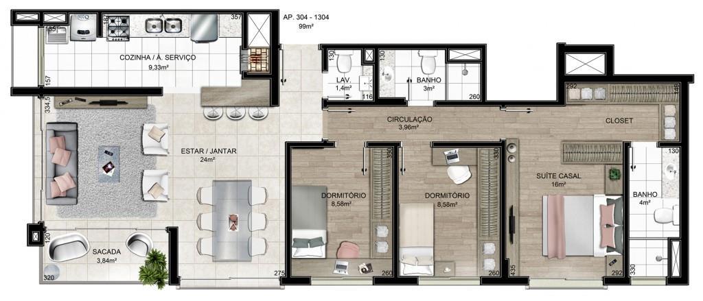 Apartamento com 3 dormitórios, sendo 1 suíte, living 2 ambientes, cozinha americana, área de serviço, banheiro social, lavabo, sacada e 2 vagas de garagem. Infraestrutura de lazer completa e segurança 24h.