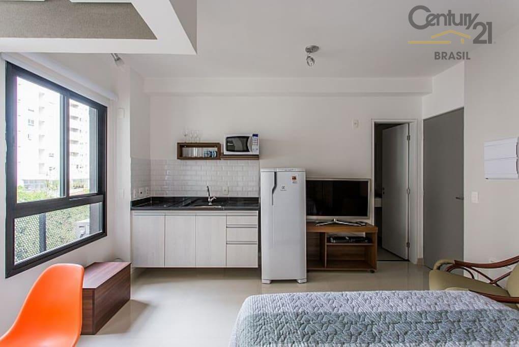Apartamento Studio para venda ou locação, com 26m², na Vila Olímpia