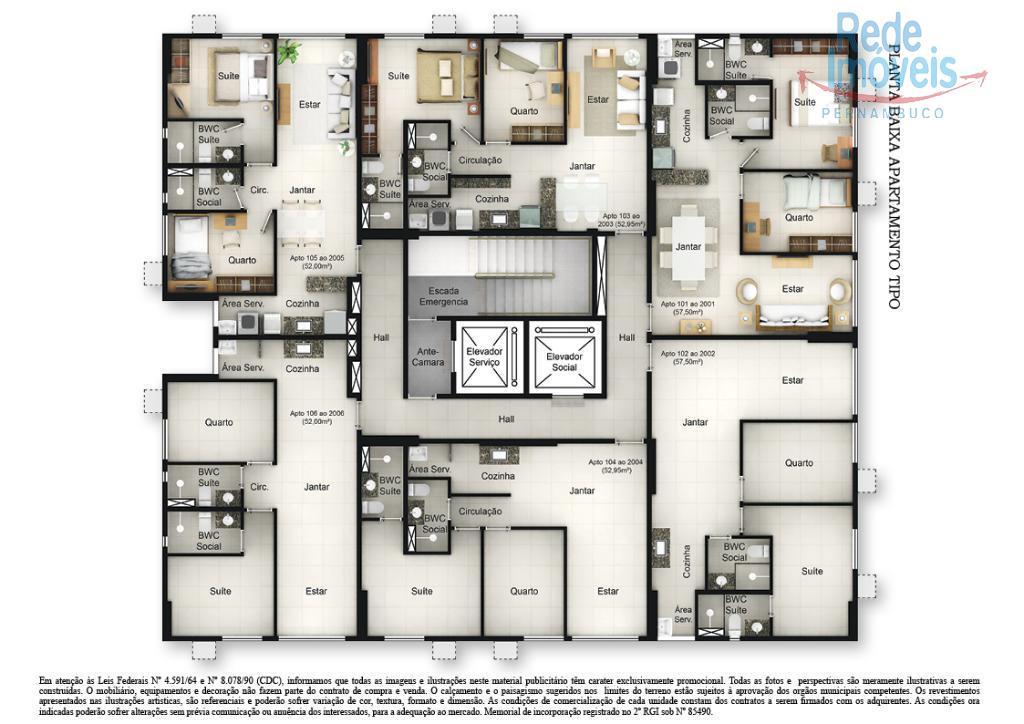 Apartamento residencial à venda, Soledade, Recife.