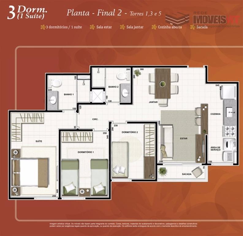 Apartamento residencial à venda, Condominio Piazza di Napoli, Centro Sul, Cuiabá.