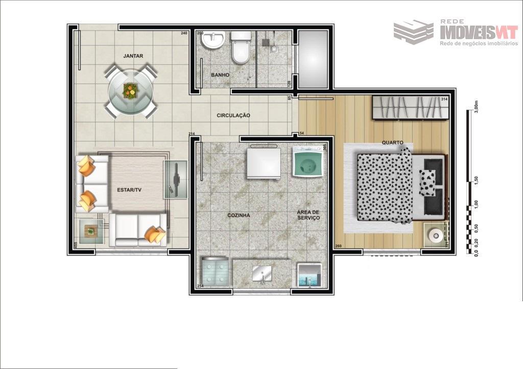 Apartamento residencial à venda, Parque Chapada Diamantina de 1 quarto, Dom Aquino, Cuiabá.