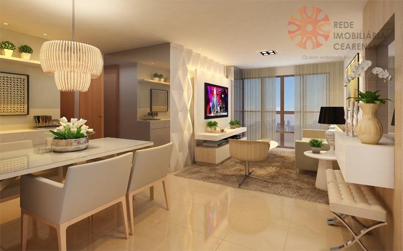 Apartamento à venda no Meireles, 110,80m2, 3 suítes, 3 vagas. Financia.