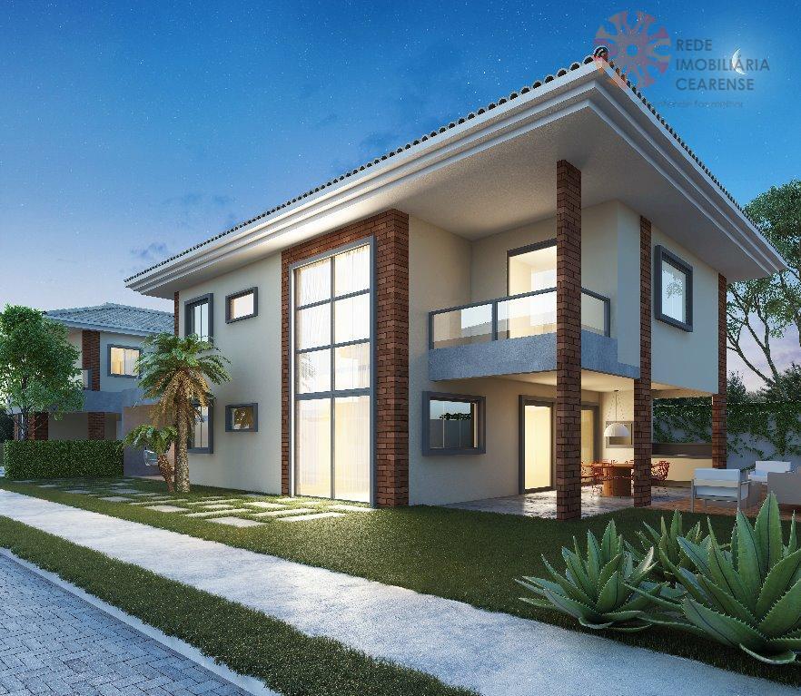 Linda casa duplex à venda no Eusébio. Cond. Fechado, 240m2, 4 suites, varanda gourmet, gabinete, até 6 vagas. Financia.