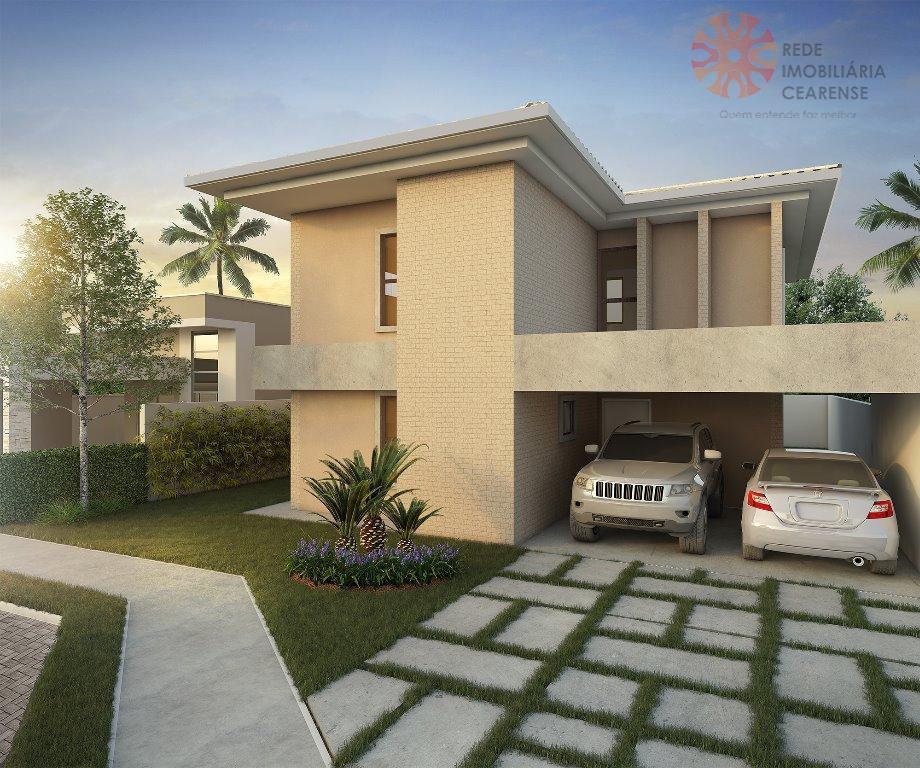Linda casa duplex à venda no Eusébio. Cond. Fechado, 215m2, 4 suites, varanda gourmet, 4 vagas. Financia.