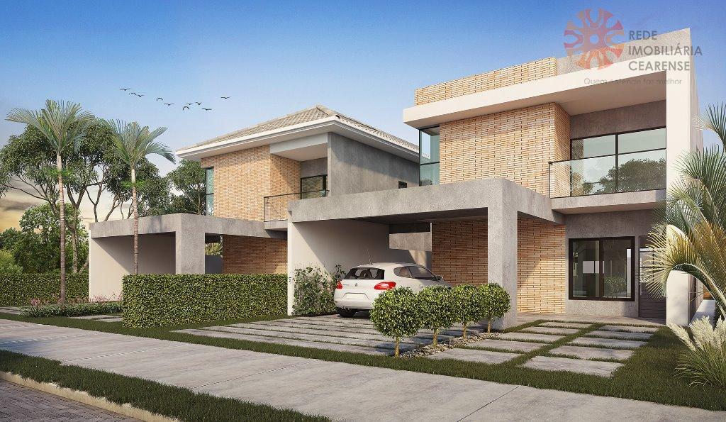 Linda casa duplex à venda no Eusébio. Cond. Fechado, 180m2, 4 suites, varanda gourmet, 3 e 4 vagas. Financia.