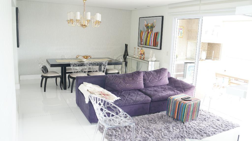 Apartamento residencial à venda, 4 dorms, sendo 3 suites, lazer completo, Embaré, Santos.