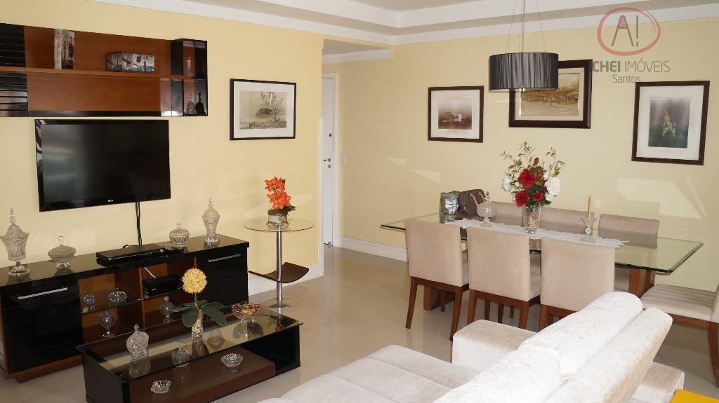 Apartamento residencial à venda, 3 dorms, 2 suites, 2 vagas, lazer completo, Ponta da Praia, Santos.