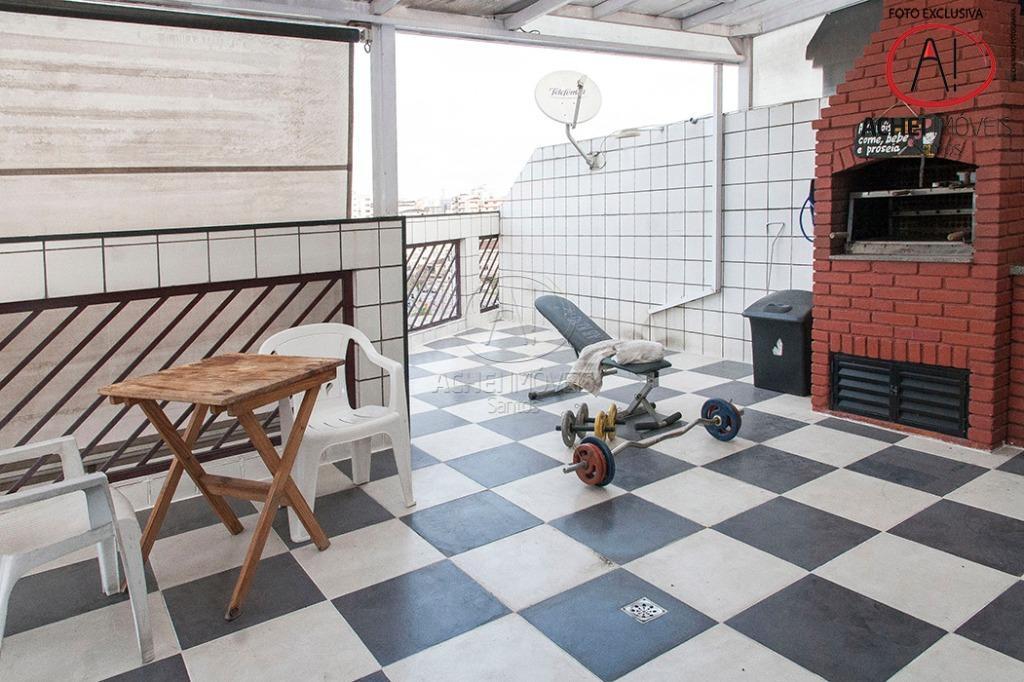 Cobertura Duplex, 3 dorms, 1 suite, 2 vagas, 2 salas, Churrasqueira, 2 vagas, Cond 750,00-Macuco, Santos 220m2 50 mts da Af Pena