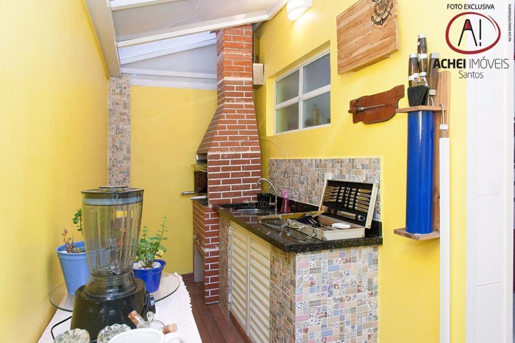 Casa residencial à venda, tipo villagio, duplex, 3 dorms, 1 suite, garagem fechada, churrasqueira, Estuário, Santos.