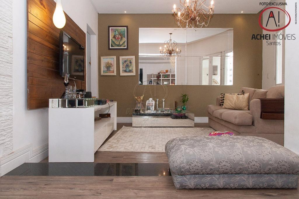 Apartamento residencial à venda, 3 dorms, 1 suite, vista mar, Aparecida, Santos.