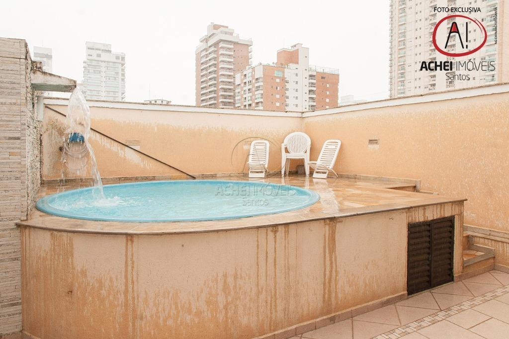 Cobertura  residencial para venda e locação, 3 dorms, 1 suite, varanda, piscina, lazer, 1 vaga, Boqueirão, Santos. 3500 pacote