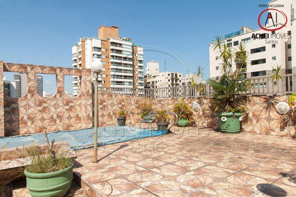 Cobertura à venda, Gonzaga, Santos. 668,0 m², 4 dormits. 2 suites, sala social, de  jogos, 3 vagas fixas, piscina, próxima praia